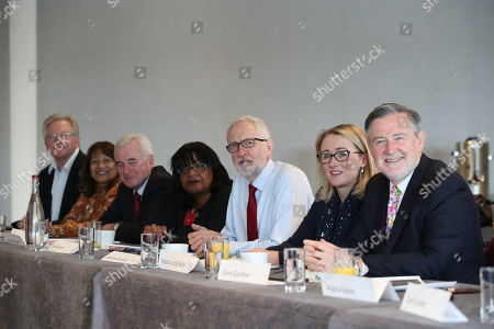 British Labour Party leader Jeremy Corbyn (3-R) with Rebecca Long-Bailey (2-R) Shadow Secretary of State for Business, Energy and Industrial Strategy, shadow Chancellor John McDonnell (3-L),  Shadow Home Secretary Diane Abbott (4-L), Barry Gardiner (R), Shadow Secretary of State for International Trade and other members of his shadow cabinet during a shadow cabinet meeting in the Lowry Theatre at The Quays in Salford, Manchester north west England, 02 September 2019. The British Parliament assembles on 03 September as members of the opposition parties join forces to prepare to introduce legislation to try and stop a No Deal Brexit on 31 October 2019.