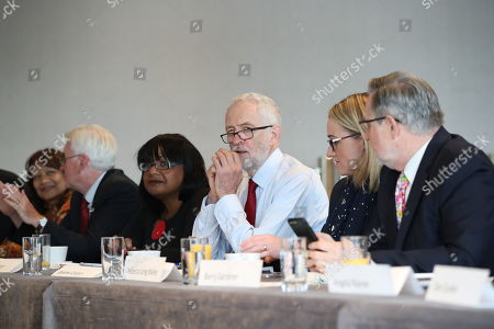 British Labour Party leader Jeremy Corbyn (3-R) with Rebecca Long-Bailey (2-R) Shadow Secretary of State for Business, Energy and Industrial Strategy, shadow Chancellor John McDonnell (2-L),  Shadow Home Secretary Diane Abbott (3-L), Barry Gardiner (R), Shadow Secretary of State for International Trade and other members of his shadow cabinet during a shadow cabinet meeting in the Lowry Theatre at The Quays in Salford, Manchester north west England, 02 September 2019. The British Parliament assembles on 03 September as members of the opposition parties join forces to prepare to introduce legislation to try and stop a No Deal Brexit on 31 October 2019.