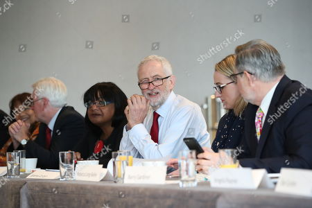 British Labour Party leader Jeremy Corbyn (3-R) with Rebecca Long-Bailey (2-R) Shadow Secretary of State for Business, Energy and Industrial Strategy, and shadow Chancellor John McDonnell (3-L), Barry Gardiner (R) Shadow Secretary of State for International Trade and other members of his shadow cabinet during a shadow cabinet meeting in the Lowry Theatre at The Quays in Salford, Manchester north west England, 02 September 2019. The British Parliament assembles on 03 September as members of the opposition parties join forces to prepare to introduce legislation to try and stop a No Deal Brexit on 31 October 2019.
