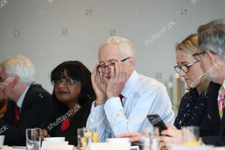 British Labour Party leader Jeremy Corbyn (C) with Rebecca Long-Bailey (2-R) Shadow Secretary of State for Business, Energy and Industrial Strategy, shadow Chancellor John McDonnell (L),  Shadow Home Secretary Diane Abbott (2-L), Barry Gardiner (R), Shadow Secretary of State for International Trade and other members of his shadow cabinet during a shadow cabinet meeting in the Lowry Theatre at The Quays in Salford, Manchester north west England, 02 September 2019. The British Parliament assembles on 03 September as members of the opposition parties join forces to prepare to introduce legislation to try and stop a No Deal Brexit on 31 October 2019.