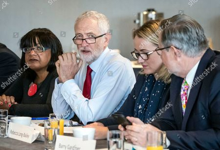 British Labour Party leader Jeremy Corbyn (3-R) with Rebecca Long-Bailey (2-R) Shadow Secretary of State for Business, Energy and Industrial Strategy, Shadow Home Secretary Diane Abbott (L), Barry Gardiner (R) Shadow Secretary of State for International Trade and other members of his shadow cabinet during a shadow cabinet meeting in the Lowry Theatre at The Quays in Salford, Manchester north west England, 02 September 2019. The British Parliament assembles on 03 September as members of the opposition parties join forces to prepare to introduce legislation to try and stop a No Deal Brexit on 31 October 2019.