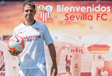 Mexican soccer player Javier Hernandez Balcazar 'Chicharito' poses during his presentation as the club's new player in Sevilla, Spain, 02 September 2019.