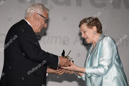 Julie Andrews (R) receives the Golden Lion for Lifetime Achievement Award from Venice Biennale President Paolo Baratta (L) during the 76th annual Venice International Film Festival, in Venice, Italy, 02 September 2019. The festival runs from 28 August to 07 September.