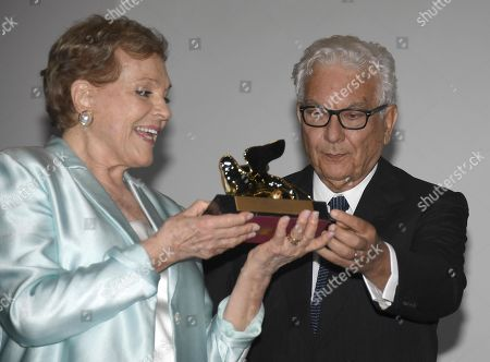 Julie Andrews (L) poses after she received the Golden Lion for Lifetime Achievement Award from Venice Biennale President Paolo Baratta (R) during the 76th annual Venice International Film Festival, in Venice, Italy, 02 September 2019. The festival runs from 28 August to 07 September.