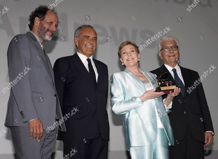 Luca Guadagnino, Film Festival Director Alberto Barbera, British actress Julie Andrews and Venice Biennale President Paolo Baratta pose with the Golden Lion for Lifetime Achievement Award for Andrews during the 76th annual Venice International Film Festival, in Venice, Italy, 02 September 2019. The festival runs from 28 August to 07 September.