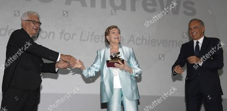 Julie Andrews (C) poses after she received the Golden Lion for Lifetime Achievement Award from Venice Biennale President Paolo Baratta (L) and Film Festival Director Alberto Barbera (R) during the 76th annual Venice International Film Festival, in Venice, Italy, 02 September 2019. The festival runs from 28 August to 07 September.