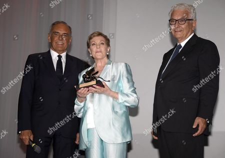Julie Andrews (C) poses after she received the Golden Lion for Lifetime Achievement Award from Venice Biennale President Paolo Baratta (R) and Film Festival Director Alberto Barbera (L) during the 76th annual Venice International Film Festival, in Venice, Italy, 02 September 2019. The festival runs from 28 August to 07 September.