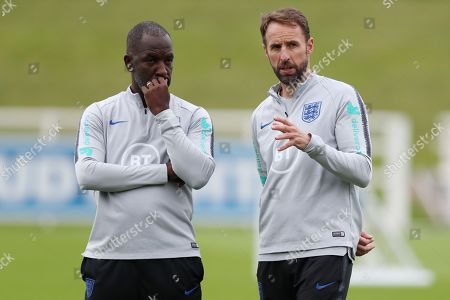 Chris Powell and England manager Gareth Southgate during the training session