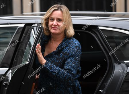 Britain's Secretary of State for Work and Pensions Amber Rudd arrives for a cabinet meeting in 10 Downing Street, Westminster, London, Britain, 02 September 2019. Britain's Prime Minister Boris Johnson has said Britain must leave the EU on 31 October, with or without a deal, prompting a number of British Members of Parliament to unite to try to prevent leaving without an agreement as Parliament assembles on 03 September 2019.