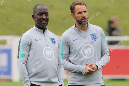 England head coach Gareth Southgate with Chris Powell during the England training session at St George's Park National Football Centre, Burton-Upon-Trent