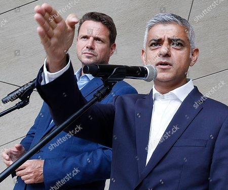 Sadiq Khan, Rafal Trzaskowski. London Mayor Sadiq Khan speaks at a news conference alongside Warsaw Mayor Rafal Trzaskowski in Warsaw, Poland, on . Khan visited Poland to commemorate the 80th anniversary of the start of World War II in Gdansk on Sunday and has taken part in town halls in Gdansk and Warsaw. He expressed outrage over British Prime Minister Boris Johnson's decision to shut down parliament for several weeks ahead of Britain's pending departure from the European Union