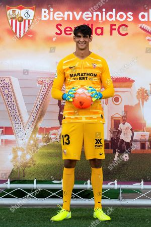Sevilla FC's new Moroccan goalkeeper Yassine Bounou 'Bono' poses during his presentation in Seville, southern Spain, 02 September 2019. Yassine Bounou 'Bono' came on loan from Girona under a purchase option at the end of the season.