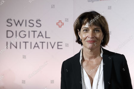 Former Swiss President Doris Leuthard, President of the board of the foundation Swiss Digital Initiative, waits prior a press conference after the kick-off of Swiss Digital Initiative, in Geneva, Switzerland, 02 September 2019.