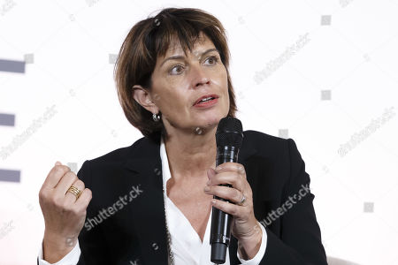 Former Swiss president Doris Leuthard, President of the board of the foundation Swiss Digital Initiative, speaks to the media after the kick-off of Swiss Digital Initiative, during a press conference, in Geneva, Switzerland, 02 September 2019.