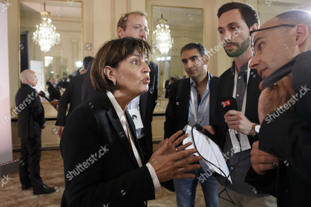 Stock Photo of Former Swiss president Doris Leuthard, President of the board of the foundation Swiss Digital Initiative, speaks to reporters following a press conference after the kick-off of Swiss Digital Initiative, in Geneva, Switzerland, 02 September 2019.