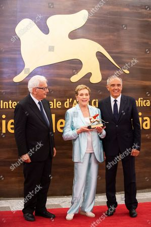 Paolo Baratta, Alberto Barbera, Julie Andrews. Paolo Baratta, from left, Julie Andrews and Alberto Barbera pose for photographers at the Golden Lion for Lifetime Achievement Award presentation at the 76th edition of the Venice Film Festival, Venice, Italy
