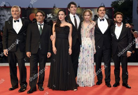 Maurizio Braucci, Marco Leonardi, Denise Sardisco, Pietro Marcello, Jessica Cressy, Luca Marinelli and Vincenzo Nemolato arrive for the premiere of 'Martin Eden' during the 76th annual Venice International Film Festival, in Venice, Italy, 02 September 2019. The movie is presented in official competition 'Venezia 76' at the festival running from 28 August to 07 September.