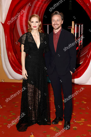 Stock Picture of Jessica Chastain and James McAvoy pose for photographers on arrival at the European Premiere of the film 'It Chapter 2' in central London on