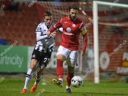 Sligo Rovers vs Dundalk. Dundalk's Daniel Kelly and Kyle McFadden of Sligo Rovers