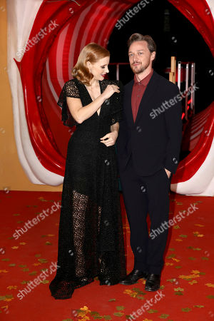 Stock Photo of Jessica Chastain and James McAvoy pose for photographers on arrival at the European Premiere of the film 'It Chapter 2' in central London on