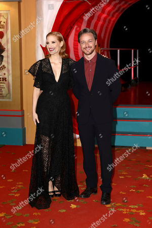 Jessica Chastain and James McAvoy pose for photographers on arrival at the European Premiere of the film 'It Chapter 2' in central London on