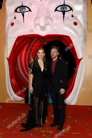 Stock Image of Jessica Chastain and James McAvoy pose for photographers on arrival at the European Premiere of the film 'It Chapter 2' in central London on