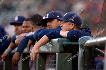 Padres Giants Baseball. San Diego Padres manager Andy Green, right, watches his team take on the San Francisco Giants during a baseball game, in San Francisco