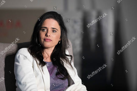 Stock Picture of Israeli Politician Ayelet Shaked, leader of the right wing 'Yemina' (right) party spekas in a  political conference in Jerusalem, Israel, 02 September 2019. Israeli legislative election will be held on 17 September.