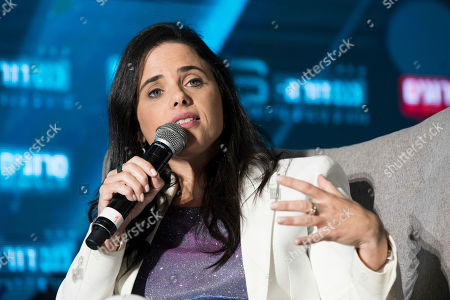 Israeli Politician Ayelet Shaked, leader of the right wing 'Yemina' (right) party spekas in a  political conference in Jerusalem, Israel, 02 September 2019. Israeli legislative election will be held on 17 September.