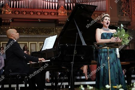 US operatic lyric-coloratura mezzo-soprano, Joyce DiDonato (R), and French collaborative pianist and opera accompanist David Zobel (L), perform a recital on the stage of the Romanian Athenaeum concert hall during the George Enescu International Festival 2019, in Bucharest, Romania, 02 September 2019. The festival, held since 1958 every two years, is the biggest classical music festival held in Romania, in honor of Romanian composer and violinist George Enescu. The 24th edition of the George Enescu International Festival takes place between 31 August and 22 September 2019.