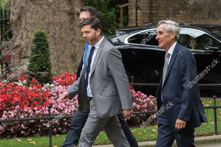 MPs Stephen Crabb (C), Steve Baker (L) and John Redwood (R) arrive in Downing Street