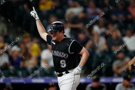 R m. Colorado Rockies first baseman Daniel Murphy (9) in the eighth inning of a baseball game, in Denver