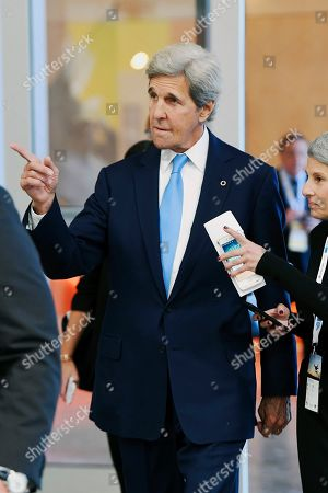 Stock Photo of Former US Secretary Of State John F. Kerry (C) tours the Innovation Precinct at the Global Table conference at the Melbourne Showgrounds in Melbourne, Australia, 03 September 2019. Key leaders in food, agricultural science, technology and medicine are in Melbourne for a three-day global conference addressing questions around sustaining a growing population, the climate crisis and unsustainable levels of development.
