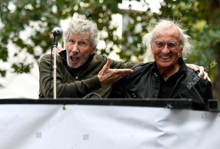 Roger Waters (L) and John Pilger (R) seen during the Don't Extradite Assange rally in London.