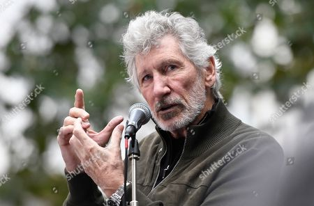 Roger Waters speaks during the Don't Extradite Assange rally in London.