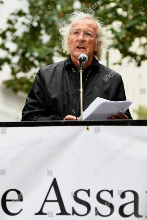 Stock Photo of John Pilger speaks during the Don't Extradite Assange rally in London.