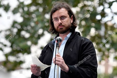 Gabriel Shipton speaks during the Don't Extradite Assange rally in London.