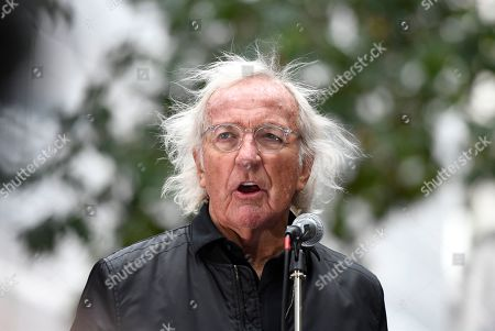 Stock Picture of John Pilger speaks during the Don't Extradite Assange rally in London.