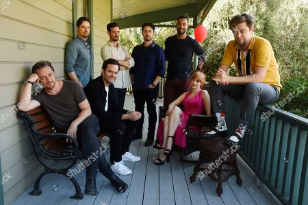 "Stock Image of Jessica Chastain, Jay Ryan, James McAvoy, Bill Hader, Andy Bean, James Ransone, Isaiah Mustafa, Andy Muschietti. Andy Muschietti, far right, director of ""It Chapter Two,"" poses for a portrait with cast members, from left, James McAvoy, Jay Ryan, Bill Hader, James Ransone, Andy Bean, Isaiah Mustafa and Jessica Chastain at Heritage Square Museum, in Los Angeles"