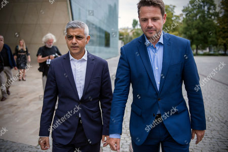 Stock Photo of Mayor of Warsaw Rafal Trzaskowski and Sadiq Khan, Mayor of London exit from the Polin museum where a press conference was held from.