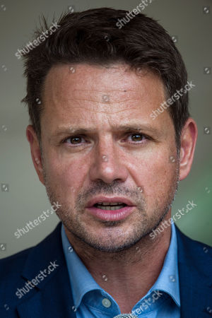 Stock Image of Mayor of Warsaw Rafal Trzaskowski speaks during a press conference summarising the two-day visit of London Mayor Khan