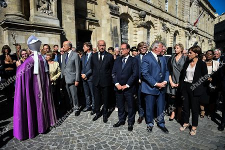 The Funeral of former president of general council and senator Philippe Madrelle take place at the Notre-Dame church in Bordeaux. In presence of the former French president Francois Hollande, Senate president Gerard Larcher, french junior minister of relations with the parliament Marc Fesneau, junior minister attached to solidarity and Health Christelle Dubos, constitutional council member Alain Juppe, constitutional council president Laurent Fabius, Bordeaux's mayor Nicolas Florian and Mgr Ricard