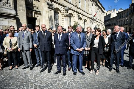 The Funeral of former president of general council and senator Philippe Madrelle take place at the Notre-Dame church in Bordeaux. In presence of the former French president Francois Hollande, Senate president Gerard Larcher, french junior minister of relations with the parliament Marc Fesneau, junior minister attached to solidarity and Health Christelle Dubos, constitutional council member Alain Juppe, constitutional council president Laurent Fabius, Bordeaux's mayor Nicolas Florian and Nouvelle Aquitaine president Alain Rousset.