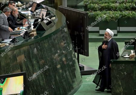 Editorial picture of Iranian President Rouhani addresses parliament in the capital Tehran, Iran (Islamic Republic Of) - 03 Sep 2019