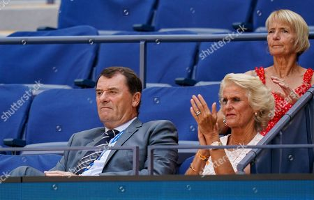 AELTC Chairman Philip Brook and his wife Gill Brook watch Johanna Konta of Great Britain play in the quarterfinal in the Arthur Ashe Stadium