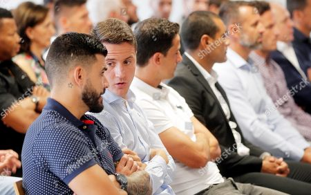 Former Real Zaragoza player Ander Herrera (2-L) attends the start of the trial on alleged match-rigging at the City of Justice in Valencia, Spain, 03 September 2019. A total of 42 people are accused, 36 of them soccer players who face between two and four years in jail for allegedly taking part in match-rigging on the last matchday of the 2010-11 Spanish La Liga season.