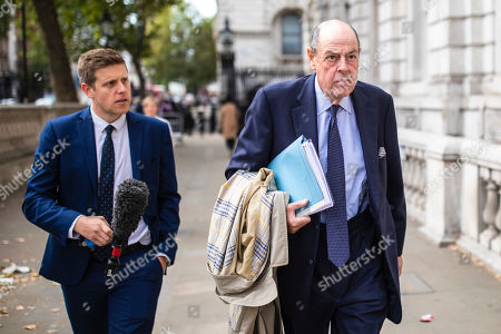 """Sir Nicholas Soames, believed to be one of the Tory """"rebels"""" willing to vote against the government, arrives at the Cabinet Office. MPs return from recess today and may vote on legislation to block a no deal exit from the European Union."""