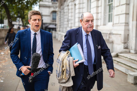 """Sir Nicholas Soames (R), believed to be one of the Tory """"rebels"""" willing to vote against the government, arrives at the Cabinet Office. MPs return from recess today and may vote on legislation to block a no deal exit from the European Union."""