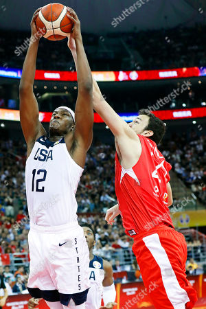 Myles Turner (L) of the USA in action during the FIBA Basketball World Cup 2019 group E first ?round? match between the USA and Turkey in Shanghai, China, 03 September 2019.