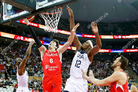 Myles Turner (2-R) of the USA in action against Cedi Osman (2-L) of Turkey during the FIBA Basketball World Cup 2019 group E first ?round? match between the USA and Turkey in Shanghai, China, 03 September 2019.